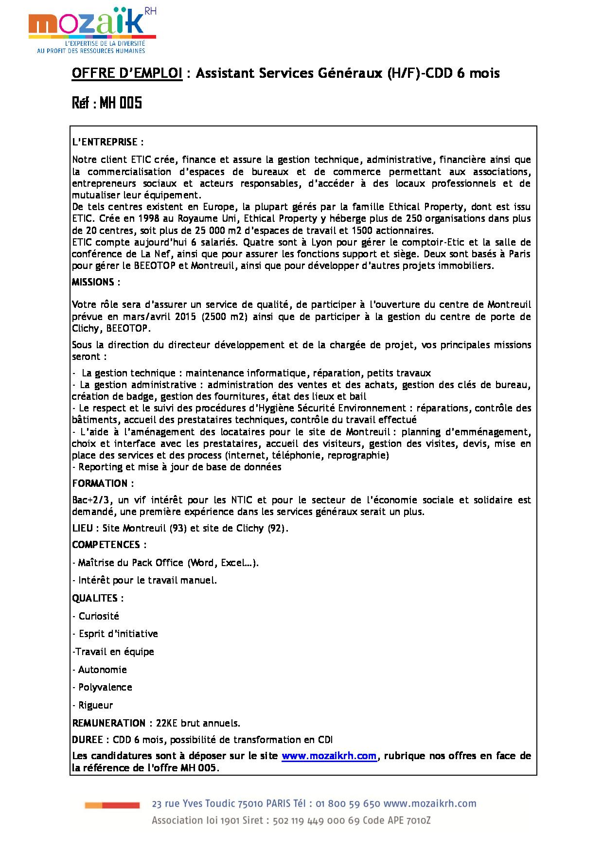 FDP Assistant Services Généraux