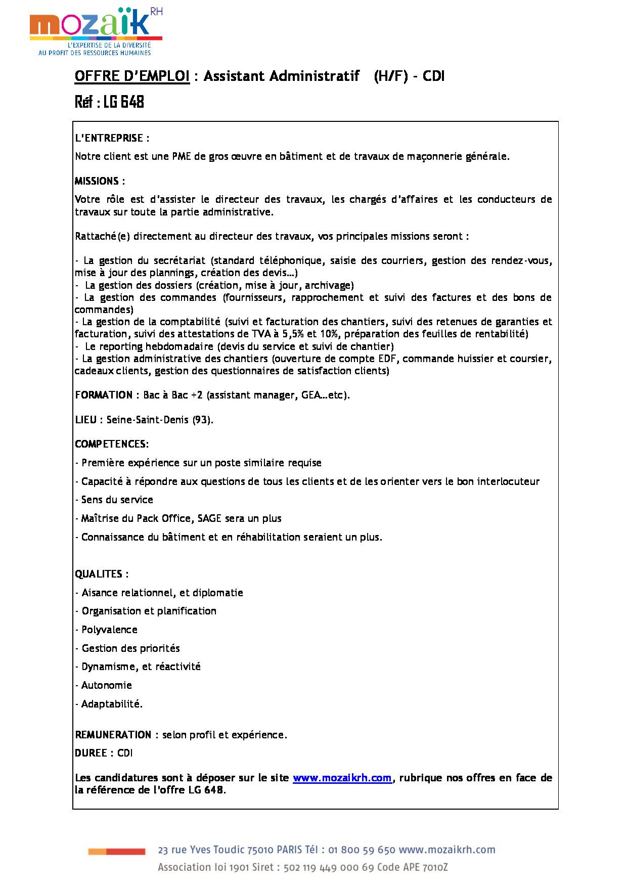 FDP Assistante Administrative
