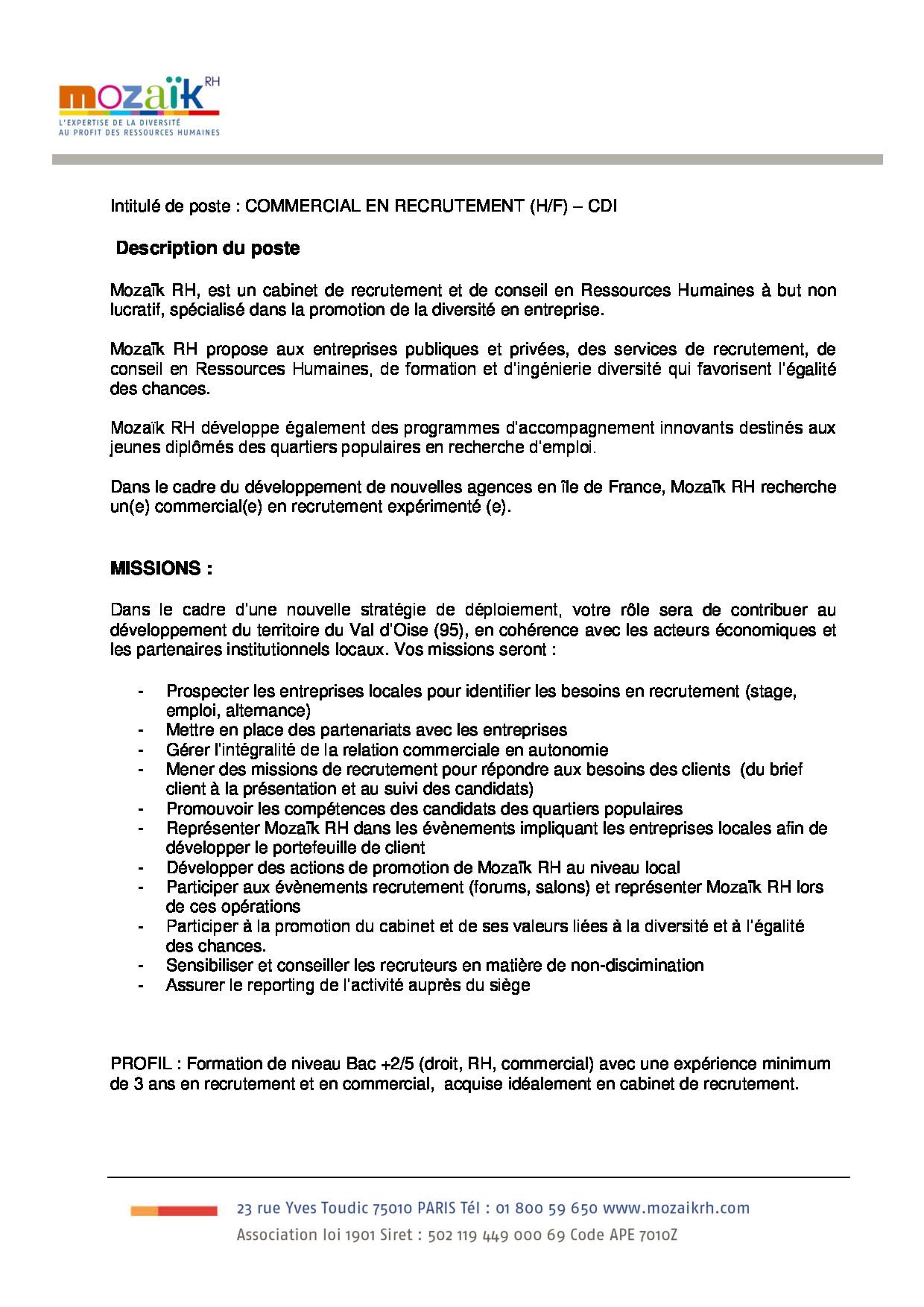 FDP Consultant en recrutement Val d'Oise
