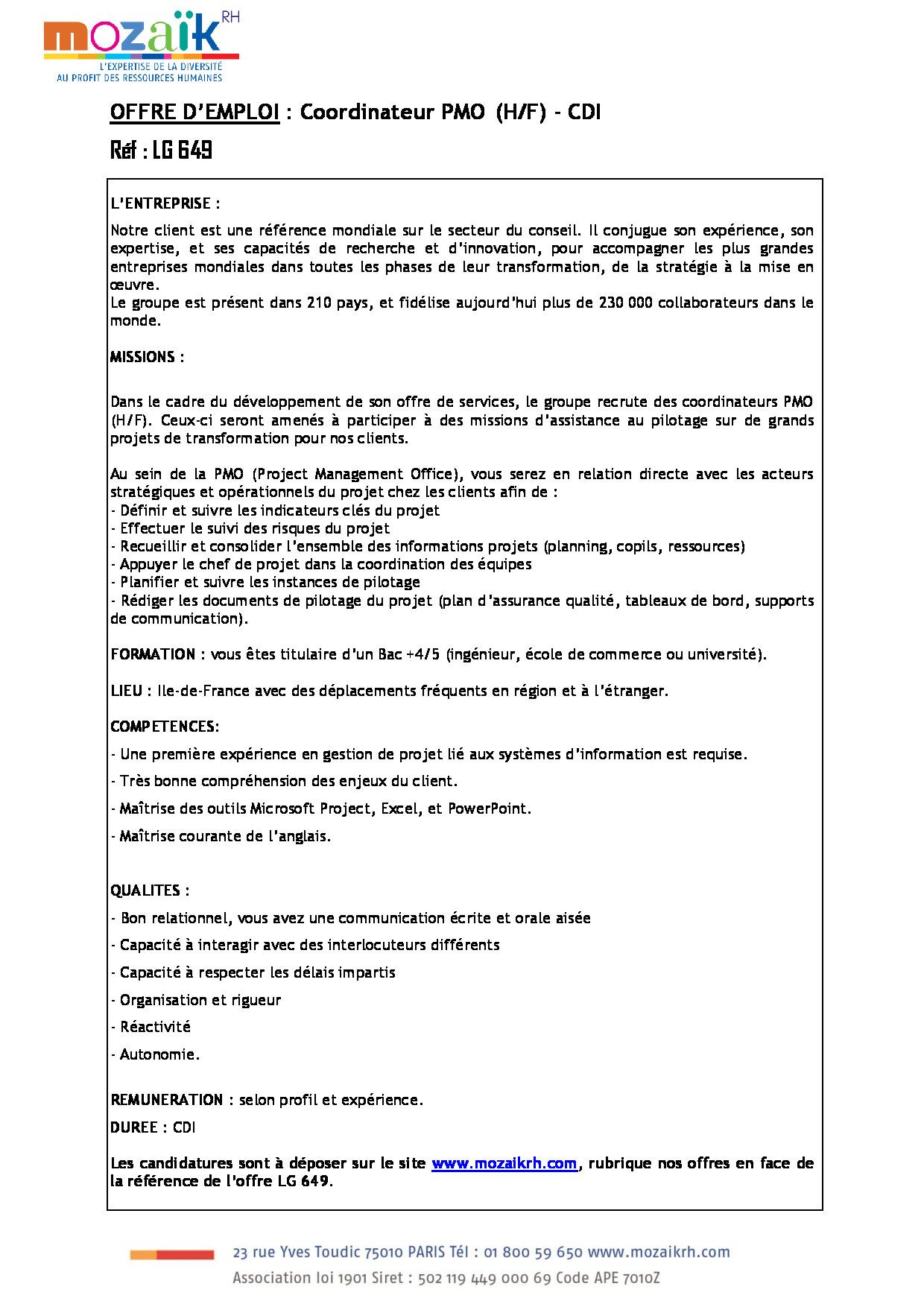 FDP Coordinateur PMO