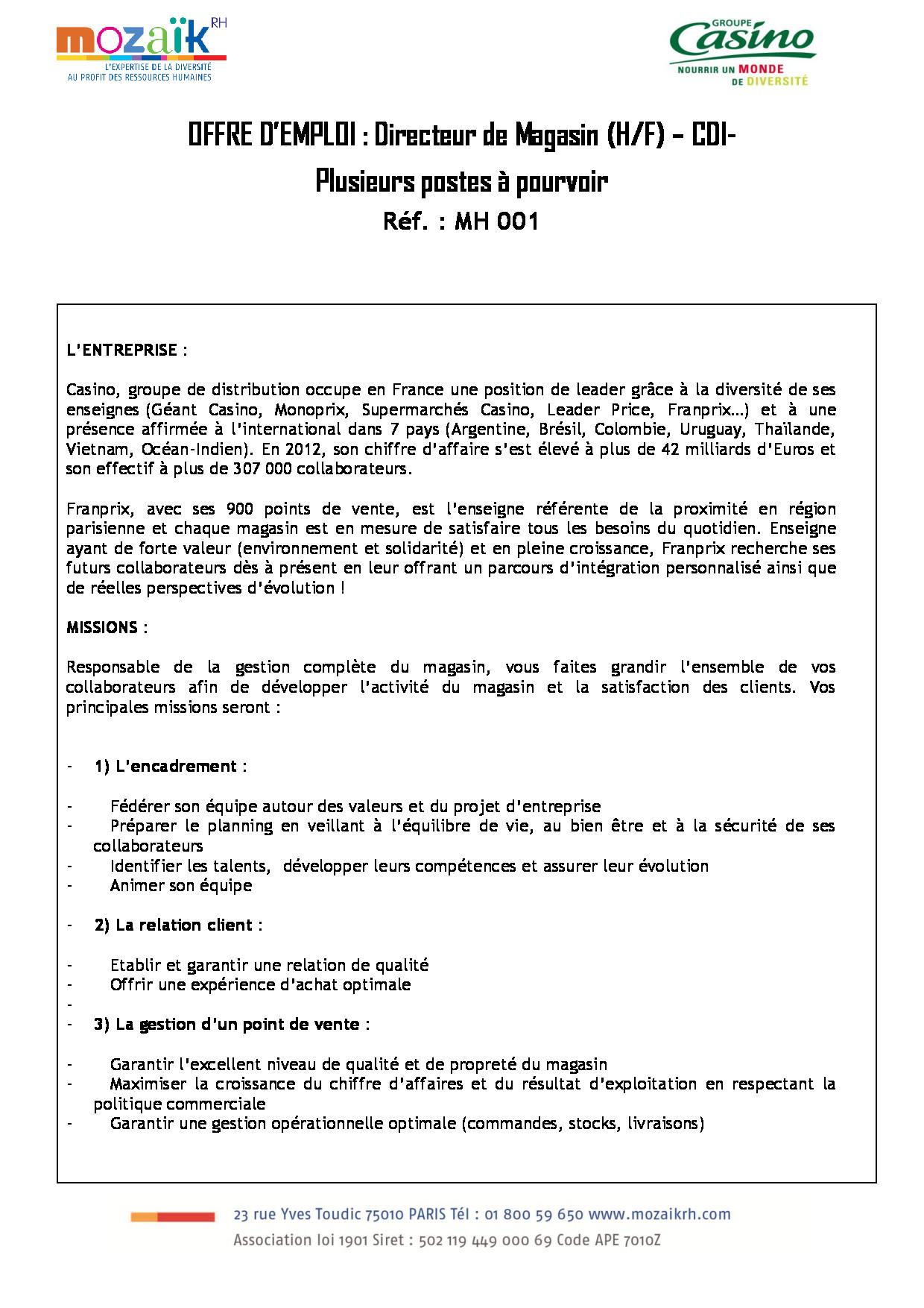 Offres d emploi janvier 2015 - Offre d emploi directeur office de tourisme ...