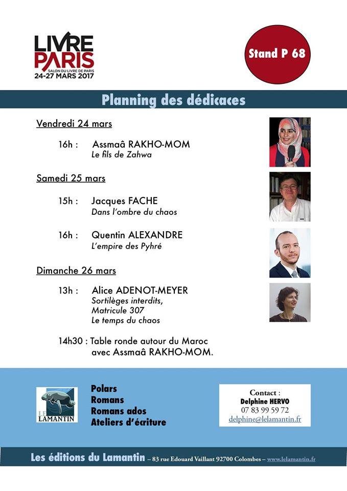 Programme des dedicaces des auteurs du lamantin au salon livre paris - Salon du livre paris 2017 auteurs ...